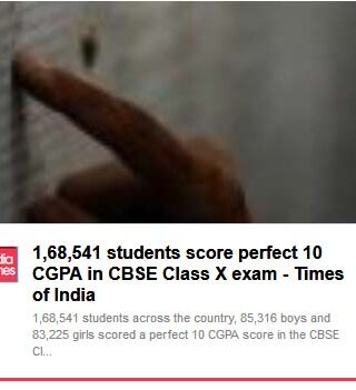 1,68,541 students score perfect 10 CGPA in CBSE Class X exam